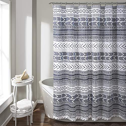 "Lush Decor Hygge Geo Shower Curtain, 72"" x 72"", Navy and White"