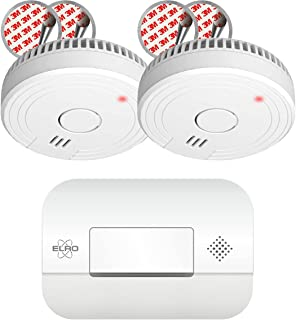 ELRO FF1840 Fire Prevention Kit 2X Smoke 5 Battery with Magnet Mounting & Carbon Monoxide Detector with 10 Year Sensor, Wh...