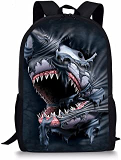 Shark 3D Printed Kids School Backpack Cool Children Book Bag for Teen Boy