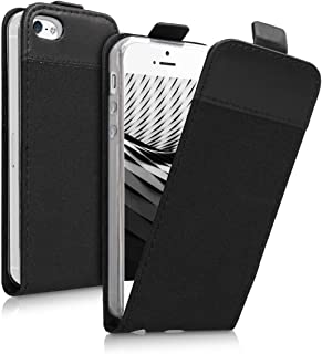 kwmobile Vertical Flip Case for Apple iPhone SE / 5 / 5S - PU Leather Fabric Protective Flip Cover with Magnet - Black/Anthracite