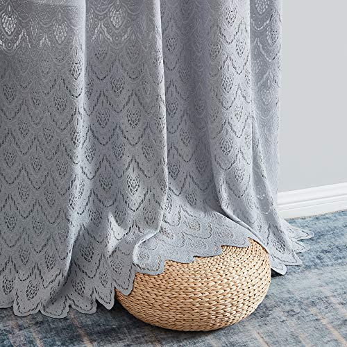 HLC.ME Monaco Premium Soft Decorative Ombre Lace Semi Sheer Light Filtering Rod Pocket Window Treatment Curtain Drapery Panels for Bedroom & Living Room - Set of 2 Panels (54 x 84 inches Long, Grey)