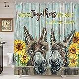 Duschvorhang mit Esel-Motiv, niedlicher lustiger Esel & rustikaler Sonnenblumen-Blume, auf Landhaus-Holzzaun, Badezimmer-Vorhang, Bauernhaus-Tiere, Esel, Duschvorhang, blaugrün, Holzbrett