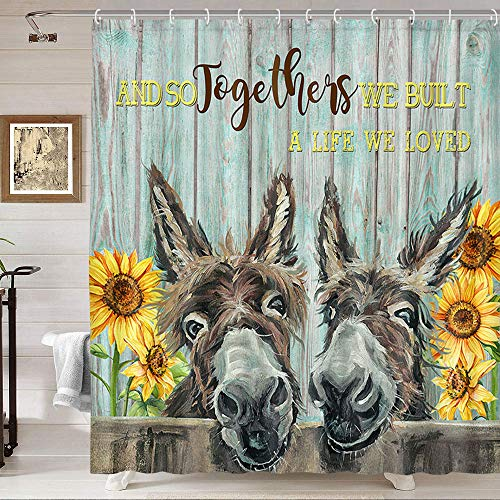 Donkey Shower Curtain, Cute Funny Donkey and Rustic Sunflower Floral on Country Wood Fence Bathroom Curtain, Farmhouse Animals Donkey Shower Curtain Teal Wood Board Famrhouse Shower Curtain, 69X70IN