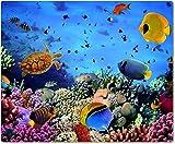 Tappetino per mouse in tessuto con parte posteriore in gomma antiscivolo, adatto a tutti i tipi di mouse, con immagine raffigurante il mondo subacqueo con mare, pesci e barriera corallina, 006
