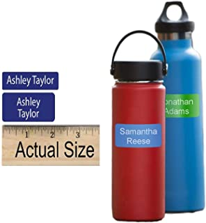 Water Bottle Labels Self Adhesive Custom Printed (36 Labels) for Water Bottles, Baby Bottles, Sports Bottles - Dishwasher Safe - Choose Color and Text