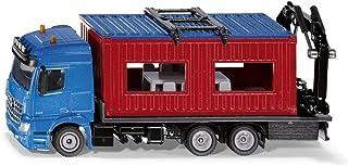 SIKU 3556, vrachtwagen met bouwcontainer, 1:50, metaal/kunststof, blauw/rood, incl. kraan voor het verwijderen van de cont...