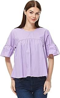 Vero Moda asymmetrical top for women in purple, Medium