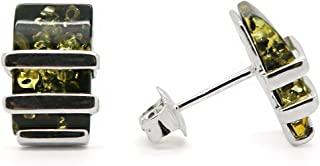 925 Sterling Silver Modern Stud Earrings with Natural Baltic Amber Gemstone