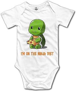 """Yuanmeiju YEARla Unisex Turtles I""""m On The Ninja Diet Baby Stramplers Baby Onesie Short Slev 12M White"""