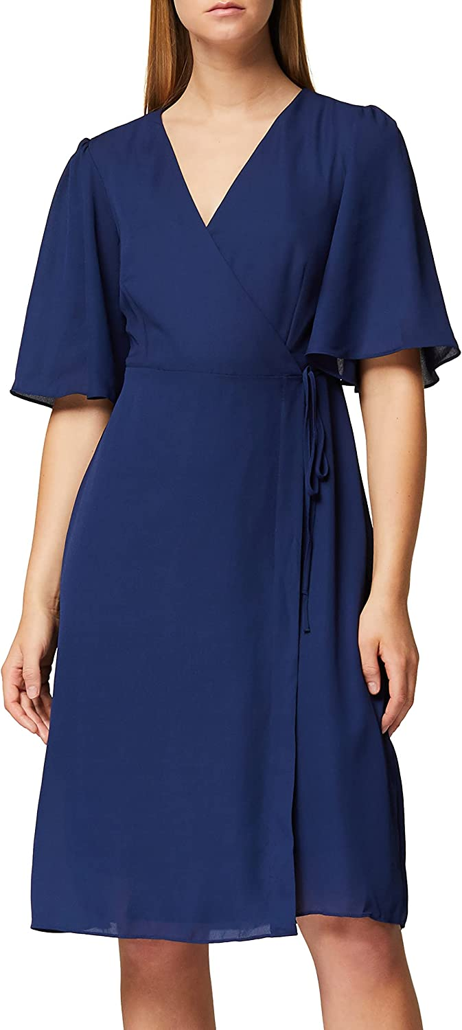 Amazon Brand - Truth & Fable Women's Mini Chiffon Wrap Dress With Bell Sleeves