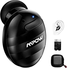 Mpow Mini Auricular Inalámbrico, Auricular Invisible Bluetooth 4.1 EDR con Manos Libres Cancelación de Ruido y Micrófono con Dos USB Magnéticos para Coche y Oficina iPhone Android (Ondulación Negro)