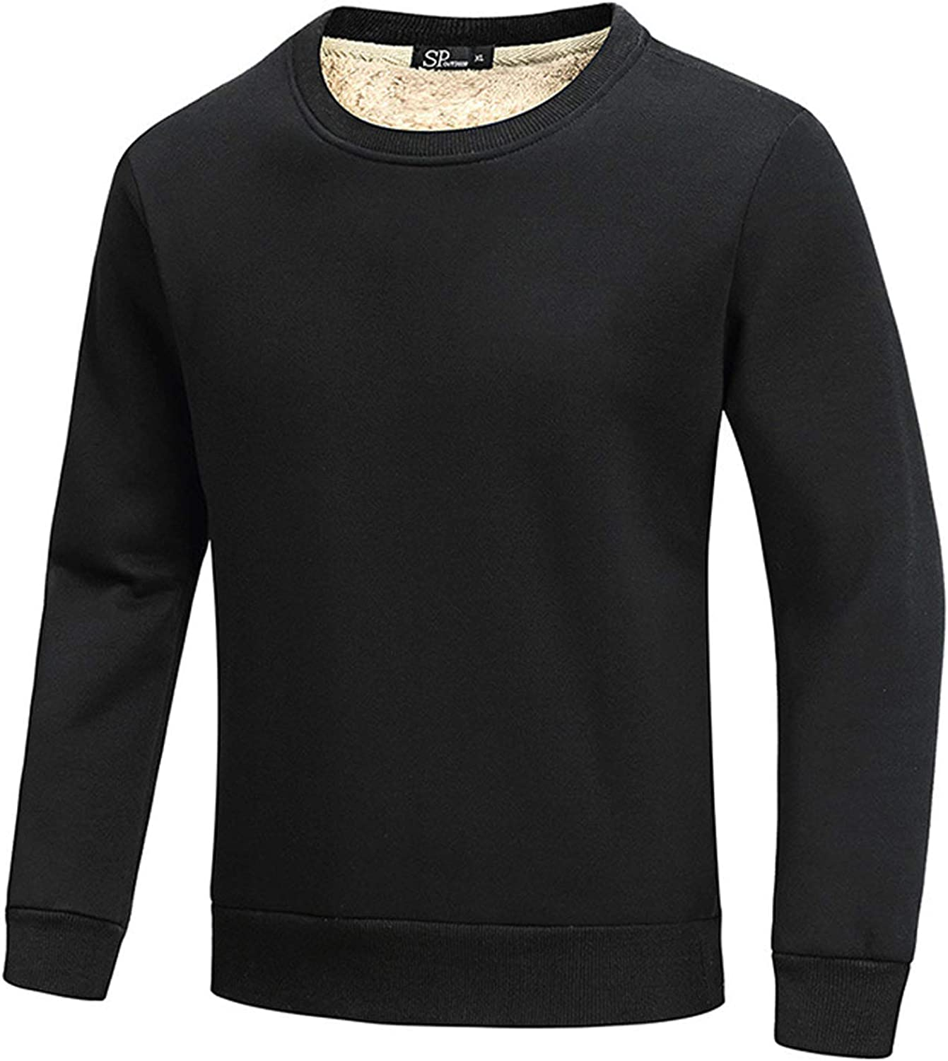 Flygo Mens Warm Thick Sherpa Fleece Crewneck Lined Pu Recommended Online limited product Sweatshirt