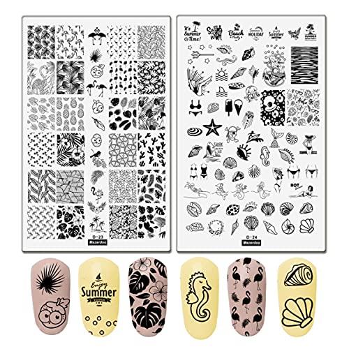 Summer Nail Art Stamping Plates Kit- 2pcs Mermaid Swan Nail Art Plate Templates Flamingo Flowers and Cute Ocean Animals Stamp Templates Set Nail Art DIY Design Gift for Women