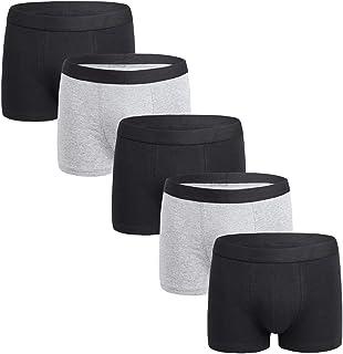 FOTBIMK Mens Underwear Fashion Solid Colour Comfortable 95% Cotton Underwear Plus Size Pack of 5 Cotton Trunk Boxer Shorts