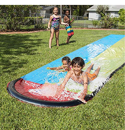 Riiai Inflatable Water Slides, Two Lanes Inflatable Slip N Slide Kids Slide, 55.1 * 189.0 Backyard Lawn Water Slides, Bouce House For For Summer, Swimming Pool, Gardening, Adults