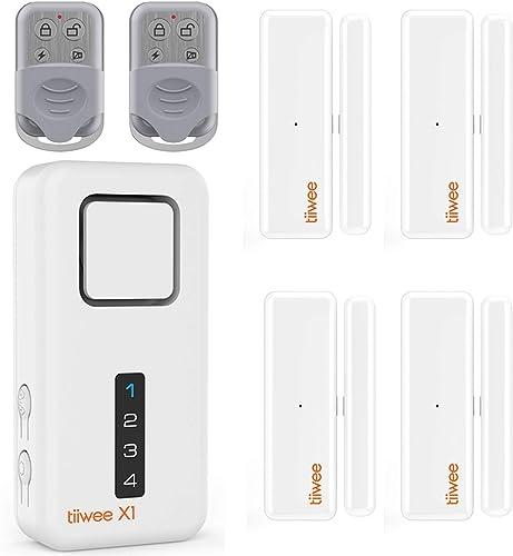 tiiwee Système d'Alarme de Sécurité Kit X1 - sans Fil - Alarme Maison Appartement Garage avec X1 Sirène, 4 Capteurs d...
