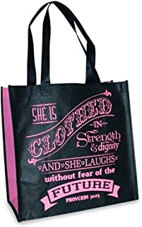 Black Clothed in Strength Proverbs 31:25 Reusable 12 x 12 Eco Friendly Tote Bag Pack of 2
