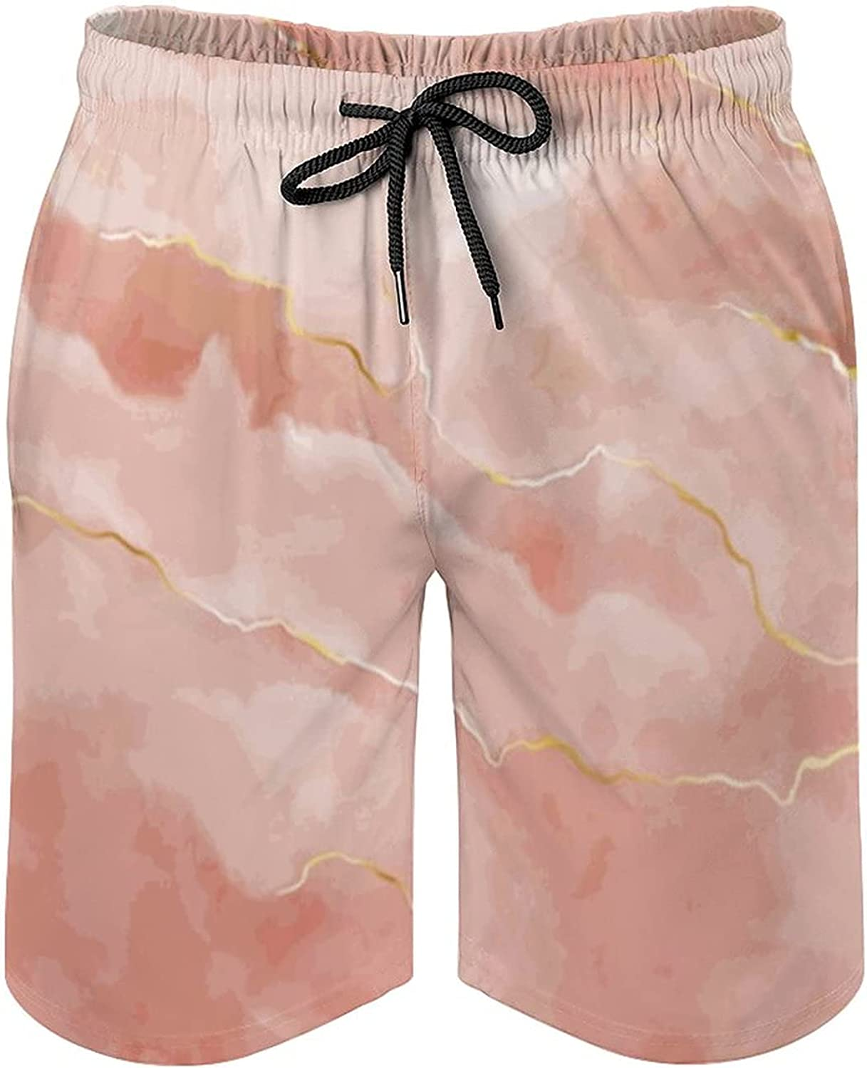 Watercolor Stone Rose Marble with Gold Men's Swimming Trunks Beach Shorts Shorts with Pocket Sports Pants