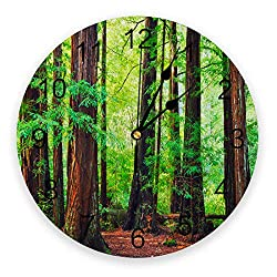 YESOF66 10 inch Round PVC Wall Clock, Silent Non-Ticking Battery Operated Clock, Rosewood Forest Ancient Redwood Desk Clock for Home,Office,School,Kitchen