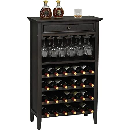 Hasuit Wood Rustic Wine Cabinet, Liquor Cabinet with Drawer, 24 Bottle Holder and Glass Holder Rack, Wine Holder Display Shelves for Kitchen Dining Room