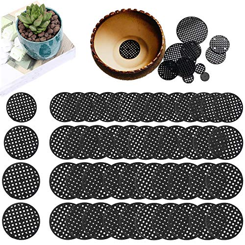 300 Pieces Flower Pot Hole Mesh Pads, Round Bonsai Pot Bottom Grid Mat Mesh for Outdoor Potted, 3 Styles
