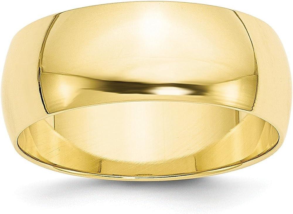 Solid 1 year warranty 10k Yellow Gold 8mm Wedding Popular popular Band Round Half