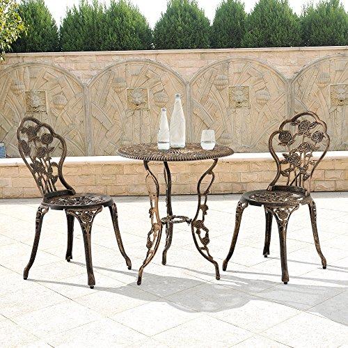 casa.pro Gartentisch/Bistro-Tisch 60cm, rund, Bronze mit 2 Stühlen – Französische Gartenmöbel im Antik-Look für Balkon/Terrasse – Bistro-Set wetterbeständig, Gusseisen-Metall als Gartendeko - 7