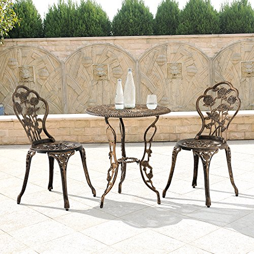 casa.pro Gartentisch/Bistro-Tisch 60cm, rund, Bronze mit 2 Stühlen - Französische Gartenmöbel im Antik-Look für Balkon/Terrasse - Bistro-Set wetterbeständig, Gusseisen-Metall als Gartendeko - 7