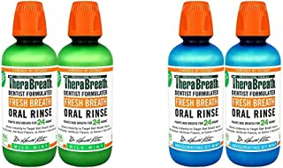 TheraBreath Fresh Breath Oral Rinse, Mild Mint, 16 Ounce Bottle (Pack of 2) and TheraBreath Gluten-Free Fre...