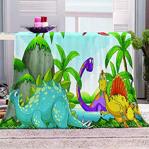 MBWLKJ Fleece Blanket 3D Dinosaur Printed Bed Throws Soft Fluffy Nap Cover Cozy Plush Fuzzy Flannel Sofa Blanket Great for Boys Girls Kids Toddler Baby Teens Adults 60X80 Inch