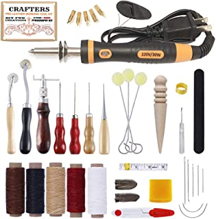 Crafters - Pro Leather Working Tool Kit & Bonus Pyrography Set | for Beginners to Advanced Crafters & DIY Hobbyists | 38 Total Pieces and Storage Box | Burning, Cutting & Sewing Basics Pack