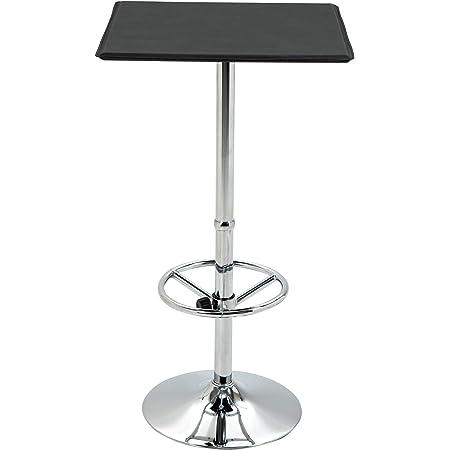 HOMCOM Table de Bar carrée Table Bistro Chic Style Contemporain Repose-Pied Hauteur réglable dim. 62L x 62l x 110H cm métal chromé PU Noir