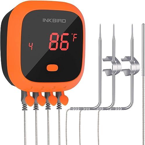 Inkbird IBT-4XC - Termómetro de carne con Bluetooth, impermeable, 4 sondas, batería recargable, imán, temporizador, a...