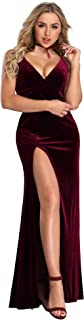 Ever-Pretty Women's Velvet Spaghetti Strap V Neck Evening Dress with Thigh High Slit 07181