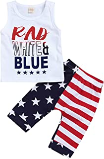 Newborn Baby boy Wearing American Flag Summer Short Sleeves Vest and Pants of Independence Day 2PCS Set