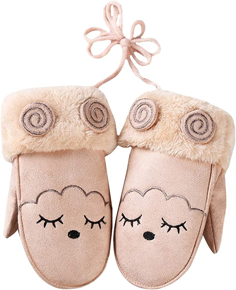 Rebecca Kids Winter Warm Plush Lined Mittens Boys Girls Cute Cartoon Windproof Thicken Gloves