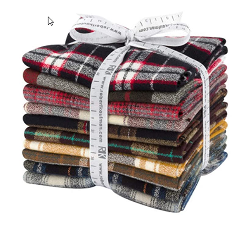 Studio RK Mammoth Flannel Fat Quarter Bundle 10 Precut Cotton Fabric Quilting FQs Assortment Robert Kaufman FQ-1389-10