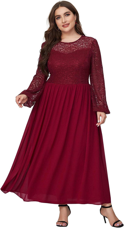 Women's Long Lantern Sleeve Lace Formal Evening Wedding Party Maxi Bridesmaid Dresses