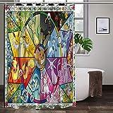Cute Doormat Pokemon Duschvorhang 3D Digital Landschaft Druck Wasserdicht Schimmelresistent Badezimmer Waschbar Badvorhang Polyester Stoff mit 12 Haken 167,6 x 182,9 cm