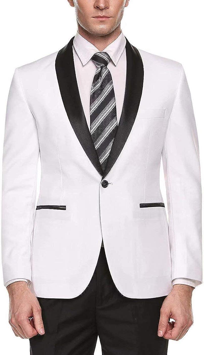 RONGKIM Men's Slim Fit Suits One Button 2 Piece Tuxedo Suit Jacket Pants for Wedding Formal Occasion