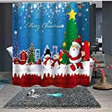 JHTRSJYTJ Karikaturweihnachtsmann-Schneemann-Weihnachtsbaumhaus rotes grün-blaues Duschvorhang ist geeignet für Badezimmer,Polyester wasserdicht,12Haken,150X180cm,Wohnkultur