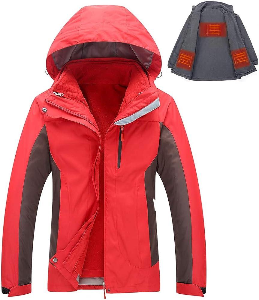DressTime Men's Heated Warm Shell Jacket, Windproof Outdoor Winter Coat with Detachable USB Heating Fleece Liner
