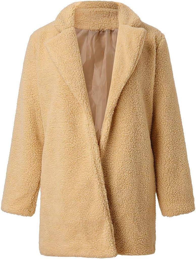 Faux Fur Sherpa Jacket Women, NRUTUP Lapel Collar Oversize Teddy Bear Jacket Winter Warm Fuzzy Overcoat Casual