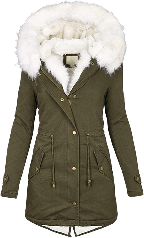 Kanzd Winter Coats for Women Fashion Long Sleeve Faux Fur Hooded Raincoats Windbreaker Rain Jacket Casual Thick Warm Coat