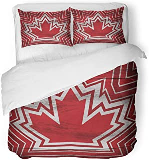 Emvency Decor Duvet Cover Set Twin Size Red Abstract Geometric Canadian Maple Leaf Crest on Rustic Wooden Aged 3 Piece Brushed Microfiber Fabric Print Bedding Set Cover