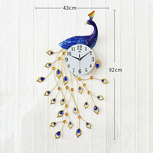 Bidesen Maison Déco Horloge surdimensionnée Paon résine surdimensionné Salon Moderne Horloge créative de horloges Arts décoratifs Horloge Murale Style européen atmosphérique (Couleur : B)