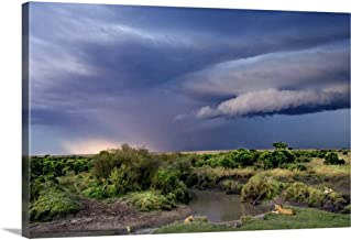 GREATBIGCANVAS Gallery-Wrapped Canvas Moody Sunset with Lions on The River, Kenya by Scott Stulberg 36