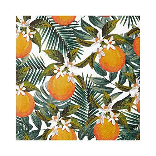 Servilletas de papel con estampado de hojas de palmera tropical naranja, paquete de 20 | Servilletas desechables, Vajilla para cenar, Cumpleaños, Fiesta en el jardín, Picnic, Luau, Decoupage