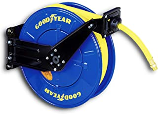 Goodyear Steel Retractable Air Compressor/Water Hose Reel with 1/2 in. x 50 feet. Rubber Hose, Max. 300PSI
