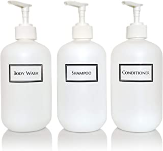 Artanis Home Silkscreened Empty Shower Bottle Set for Shampoo, Conditioner, and Body Wash, Squat 16 oz 3-Pack, White